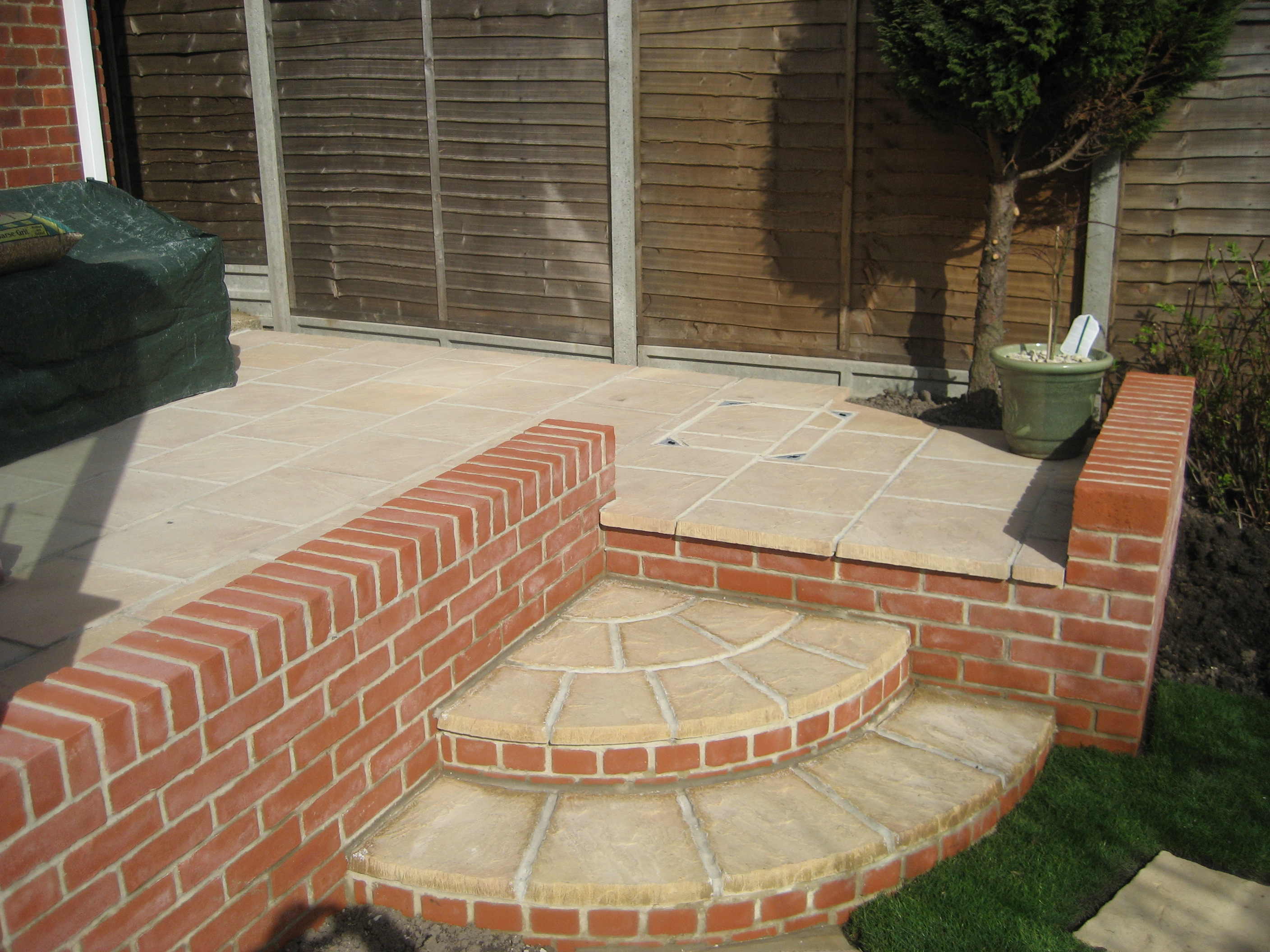image of a raised patio from just bases